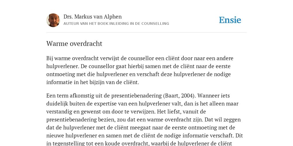 Warme Overdracht De Betekenis Volgens Drs Markus Van Alphen