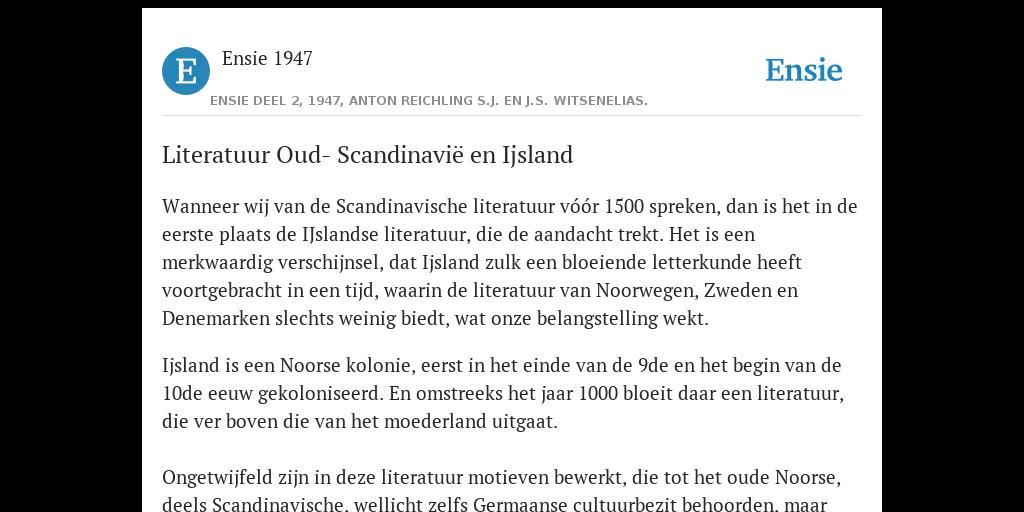 Literatuur Oud Scandinavië En Ijsland De Betekenis