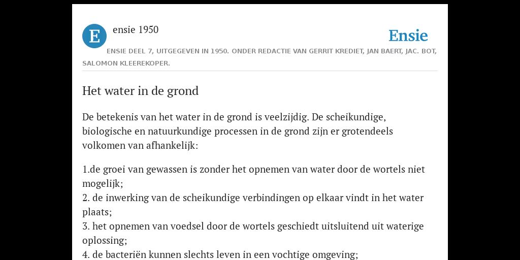 Het Water In De Grond De Betekenis Volgens Ensie 1950