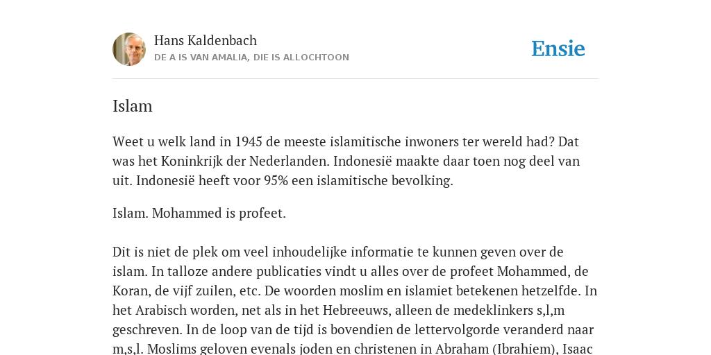 Islam - de betekenis volgens Hans Kaldenbach