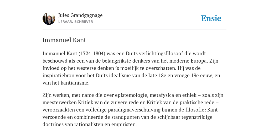 Immanuel Kant De Betekenis Volgens Jules Grandgagnage
