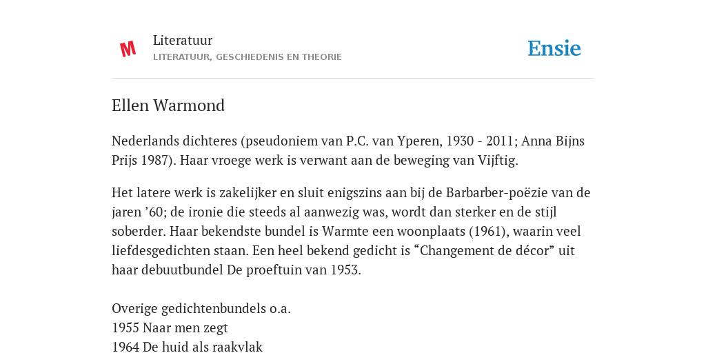Ellen Warmond De Betekenis Volgens Literatuur