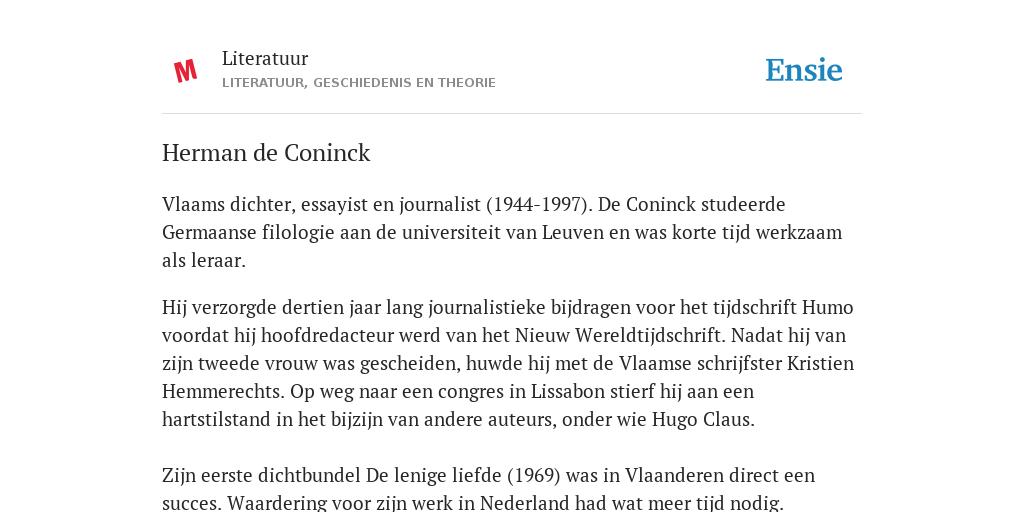 Herman De Coninck De Betekenis Volgens Literatuur