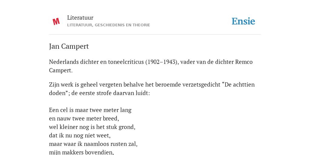 Jan Campert De Betekenis Volgens Literatuur