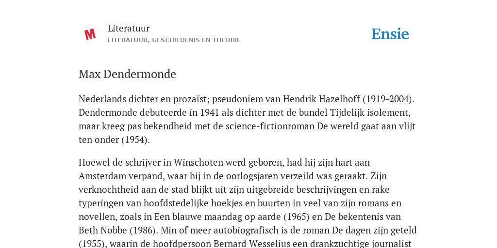 Max Dendermonde De Betekenis Volgens Literatuur