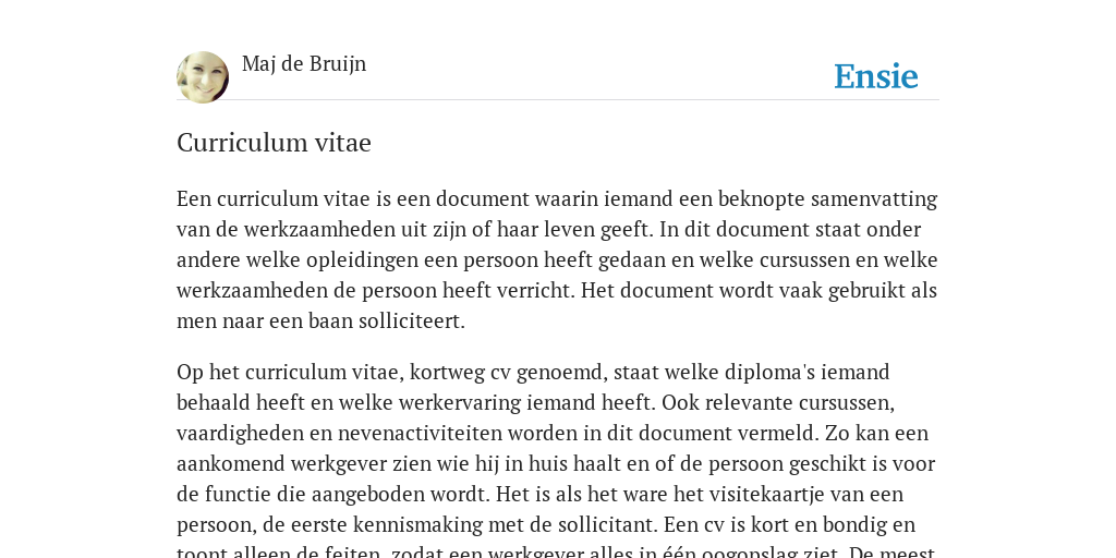 definitie cv Curriculum vitae   de betekenis volgens Maj de Bruijn