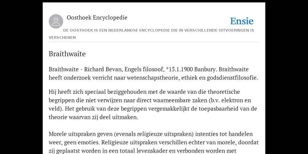 Braithwaite De Betekenis Volgens Oosthoek Encyclopedie
