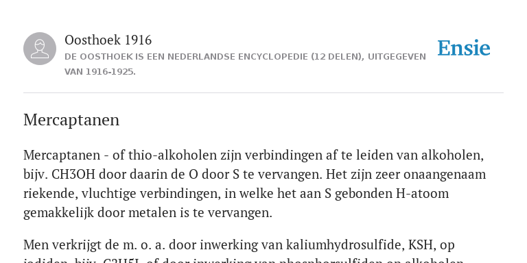 Mercaptanen De Betekenis Volgens Oosthoek 1916