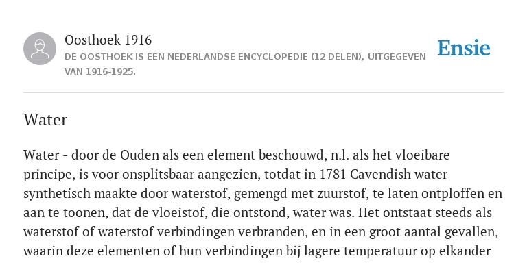 Water De Betekenis Volgens Oosthoek 1916