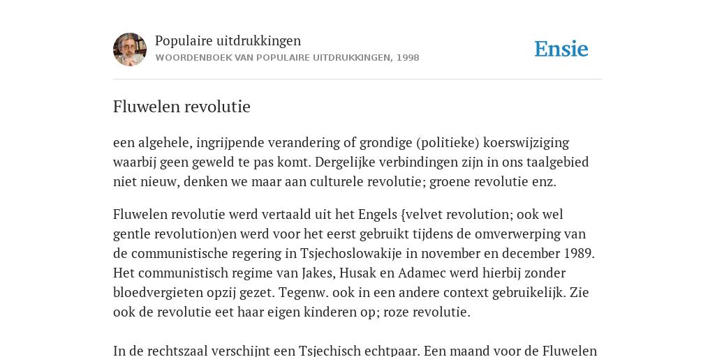Fluwelen Revolutie De Betekenis Volgens Populaire