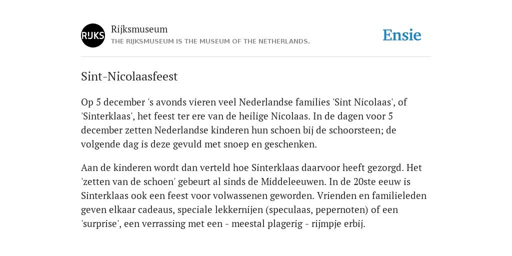 Sint Nicolaasfeest Rijksmuseum.Sint Nicolaasfeest De Betekenis Volgens Rijksmuseum