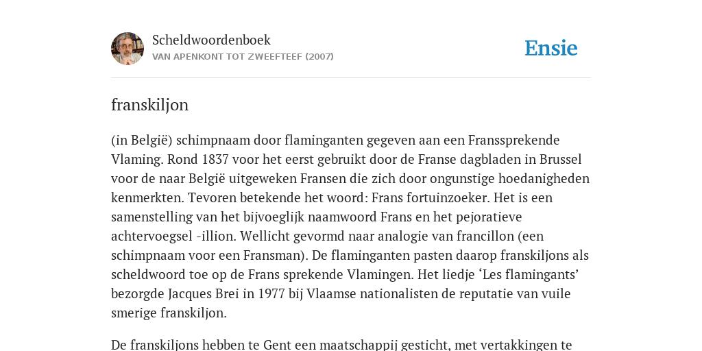 franskiljon - de betekenis volgens Scheldwoordenboek