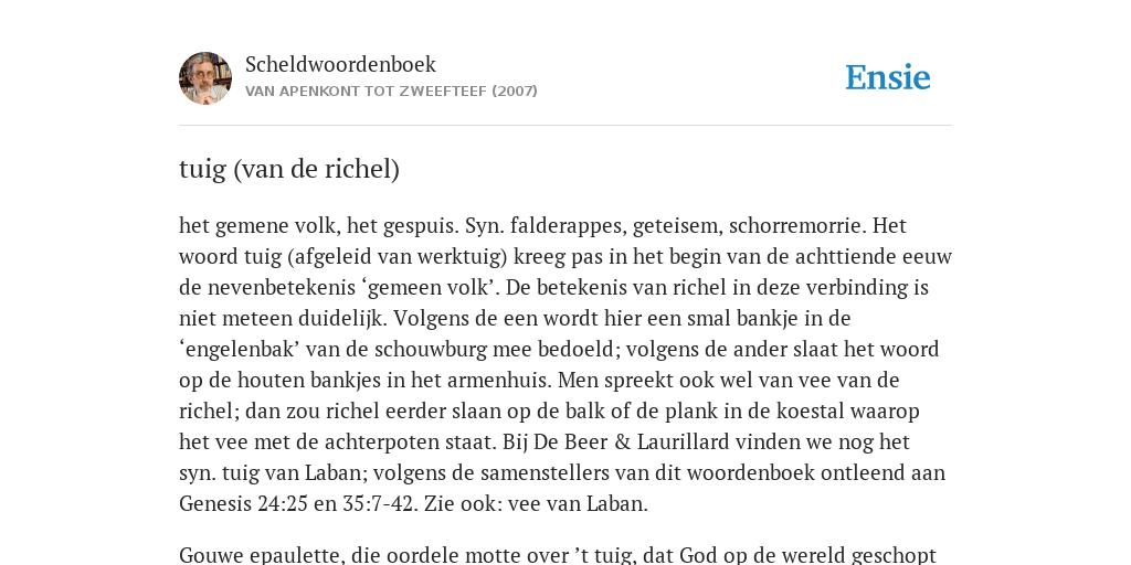 tuig (van de richel) - de betekenis volgens Scheldwoordenboek
