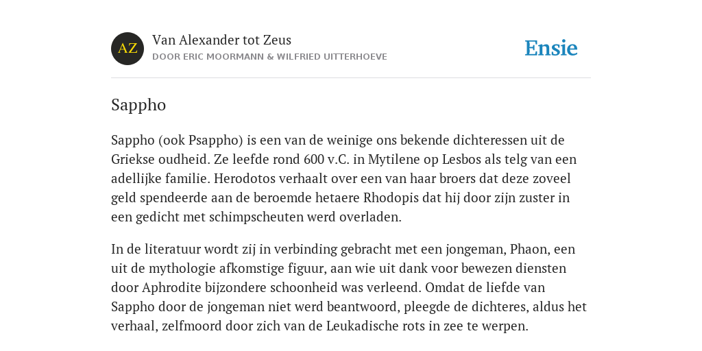 Sappho De Betekenis Volgens Van Alexander Tot Zeus