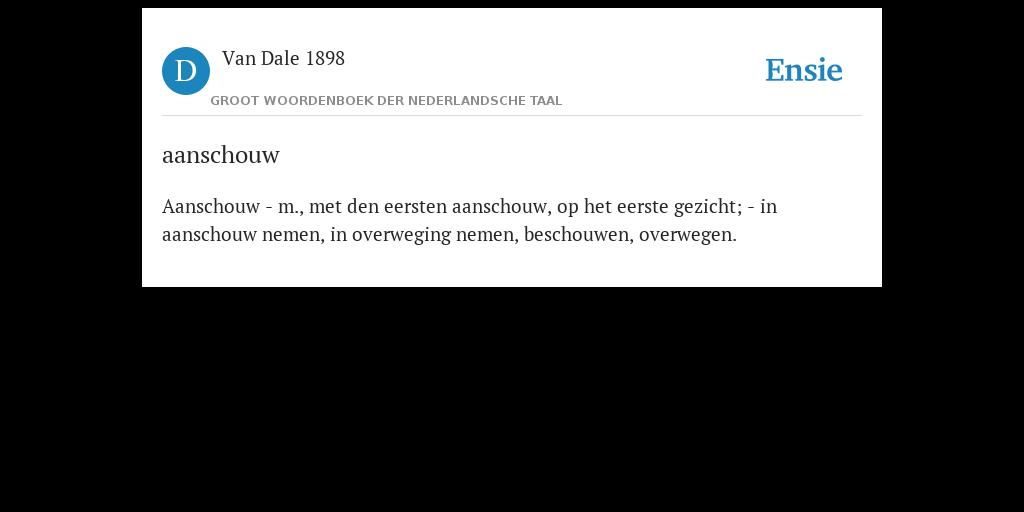 Aanschouw De Betekenis Volgens Van Dale 1898