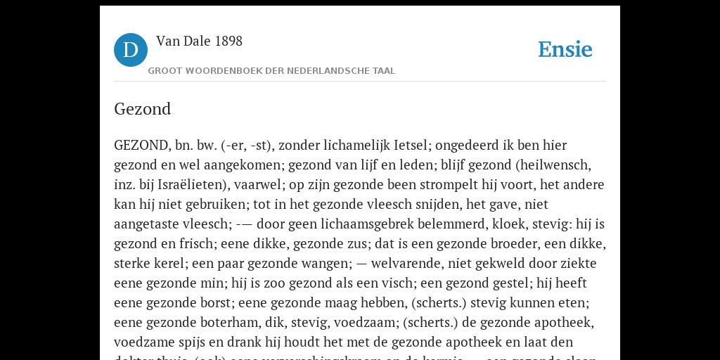 Gezond De Betekenis Volgens Van Dale 1898
