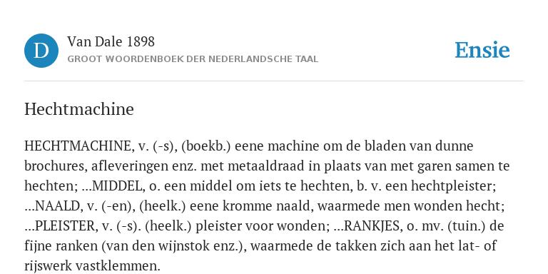 Hechtmachine De Betekenis Volgens Van Dale 1898