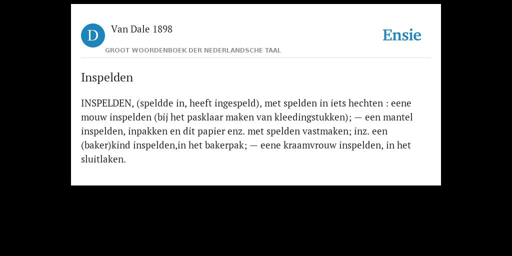 Inspelden De Betekenis Volgens Van Dale 1898
