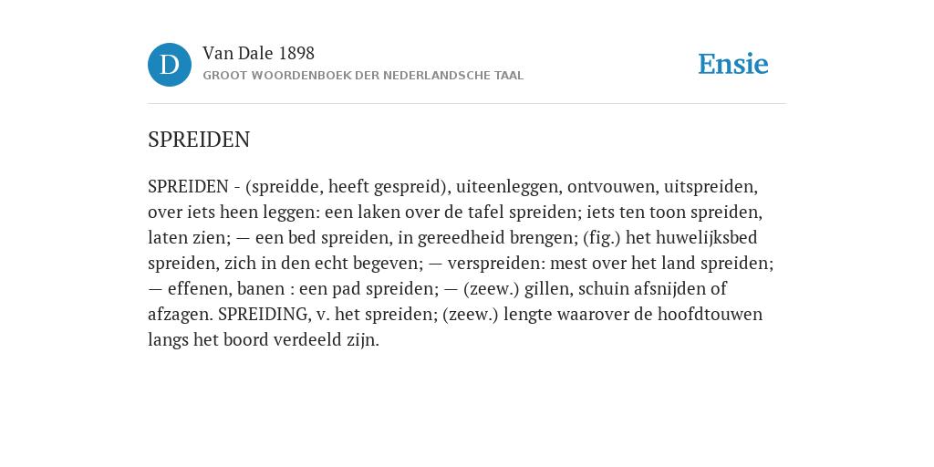 Spreiden De Betekenis Volgens Van Dale 1898