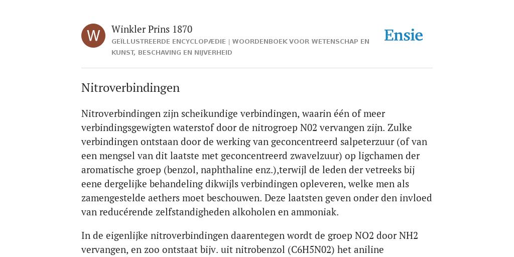 Nitroverbindingen De Betekenis Volgens Winkler Prins 1870