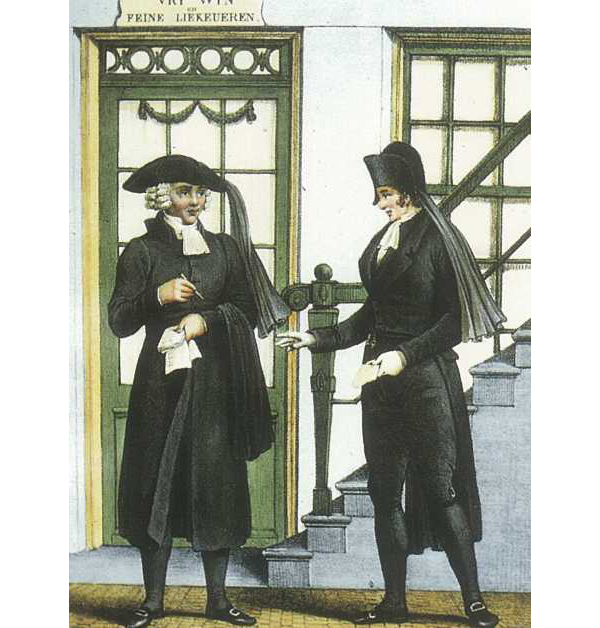 Twee Amsterdamse aansprekers, eind 18e eeuw