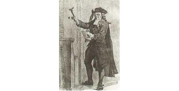 Een aanspreker klopt op de deur, 1775