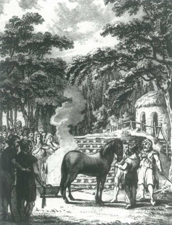 Voorstelling van een Germaanse lijkverbranding