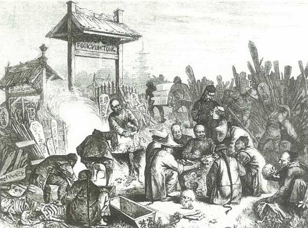 Het ontvlezen of skeletteren van opgegraven lijken op de Chinese begraafplaats te San Francisco voor transport naar China