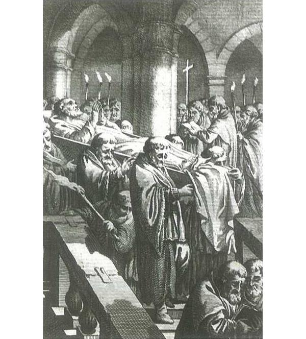 Generale repetitie van de uitvaart van Karel V op 31 augustus 1558 in het klooster te Yuste in Spanje
