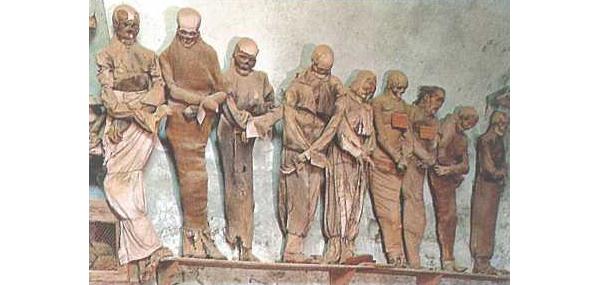 Mummies in een kloostergang te Palermo
