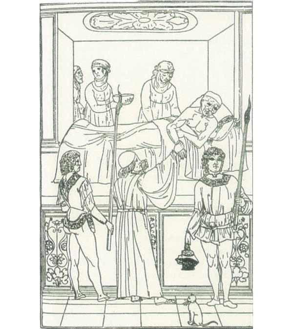 Een arts bezoekt een patiënt, houtsnede uit 1483