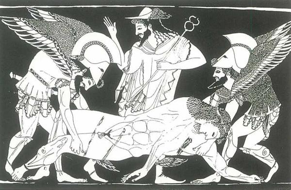 Thanatos en zijn tweelingbroer Hypnos leggen de dode ter ruste in de onderwereld
